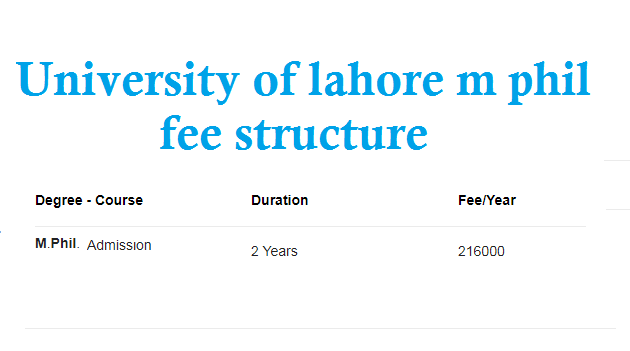 university of lahore m phil fee structure
