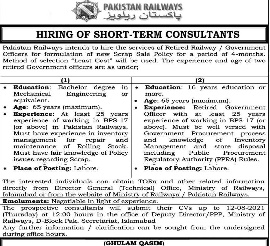 Hiring of Short term consultant of Pakistan Railways